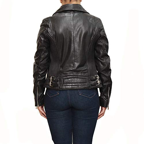 Pour À De Courte Veste La Noir Motard Avec Taille Femmes Ajustement Noire 4Iwd8qx