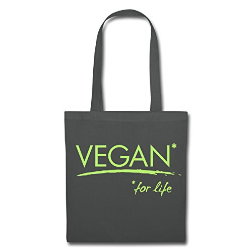 Spreadshirt Vegan For Life Veganer Statement Stoffbeutel Graphite 8kJInqaCZ