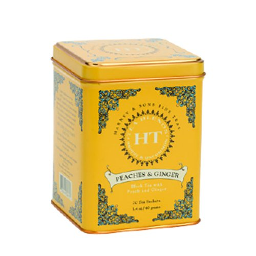 Harney & Sons Caffeinated Peaches & Ginger Black Tea Tin 20 Sachets