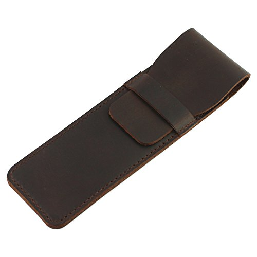 LXFF Genuine Leather Double Pen Sleeve Case Holder Pouch Cover for 2 pen Handmade Vintage -