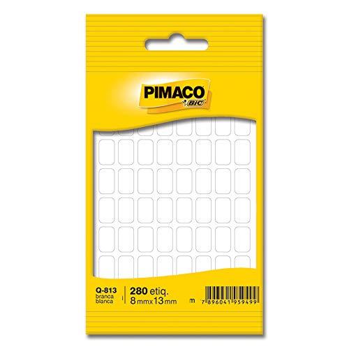 Etiqueta adesiva branca multiuso 8, 0x13mm Q-813 Pimaco, BIC, 886588, Branca, pacote de 5