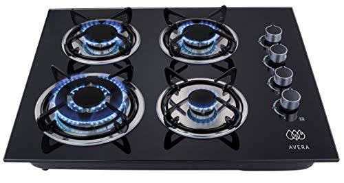 AVERA VT4 Parrilla a gas de Empotrar con 4 Quemadores en Vidrio Templado, color Negro