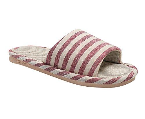 Tongs Linen confortable Femmes Chaussures Derapant Hommes Rouge Plat Pantoufles Anti 77fqUwx