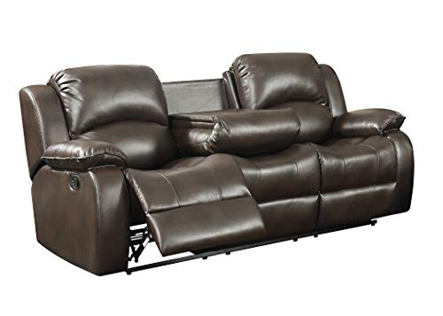 AC Pacific Samara Collection Modern Upholstered Transitional Reclining Sofa with Dual Recliners and a Center Drop Down Table with Cup Holders, Dark Brown