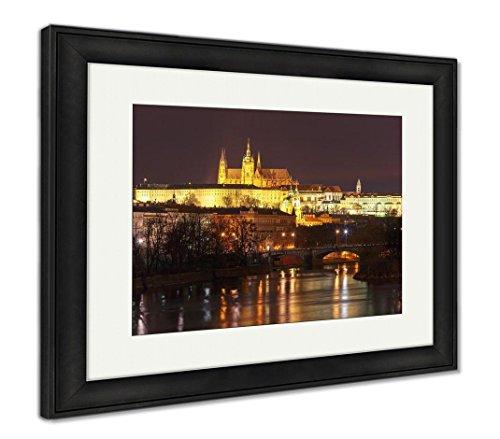 Ashley Framed Prints Prague Castle Charles Bridge Little Quarter Night Prague Czech, Wall Art Home Decoration, Color, 30x35 (Frame Size), Black Frame, AG5574076
