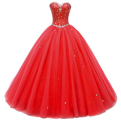Beautyprom Women's Sweetheart Ball Gown Tulle Quinceanera Dresses Prom Dress (US10, Red)
