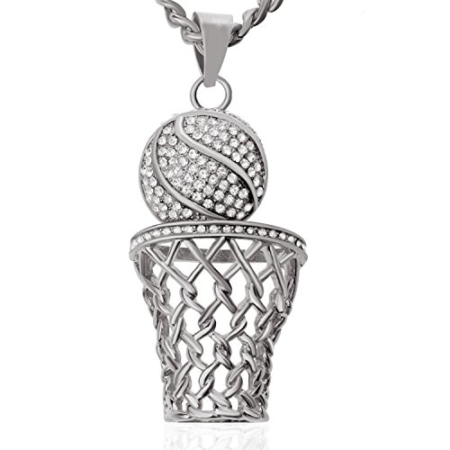 Ginasy Basketball Silver Tone Men Pendant Necklace with 29
