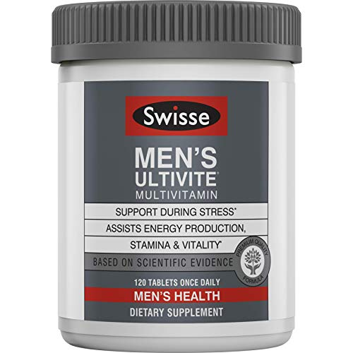 Swisse Men's Premium Ultivite Multivitamin - Energy Support, Stress Support, Antioxidant & Mineral Rich Daily Vitamin for Men (120 Tablets)