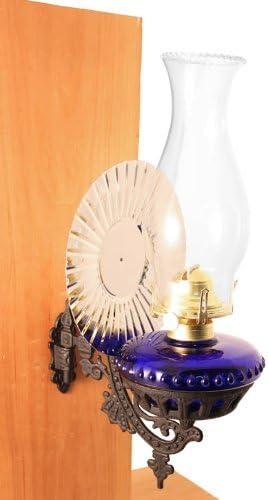 Vermont Lanterns – Glass Oil Lamp Cast Iron Wall Bracket Cobalt w Reflector