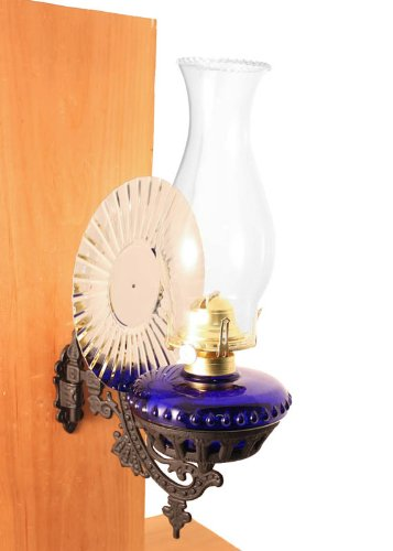 Victorian Oil Lamp - Cobalt Blue w/Reflector Wall Mount - Hurricane Lamps (Wall Mount Kerosene Oil Lamps compare prices)