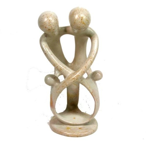 Global Crafts Natural 8-inch Tall Soapstone Family Sculpture - 2 Parents 2 Children
