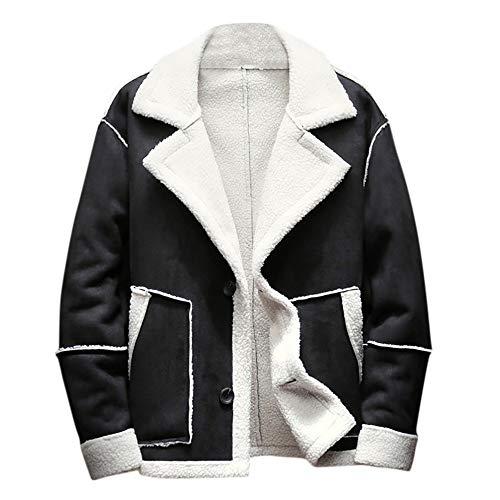 kemilove Men's Winter Jacket Button Outwear Shearling Lined Long Suede - Advantage Jacket Soft