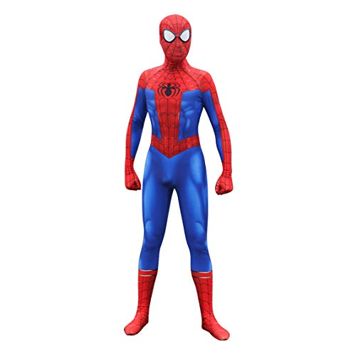 Unisex Lycra Spandex Zentai Halloween Into The Spideverse Cosplay Costumes Suit Adult/Kids 3D Style (Adults-XXL Blue]()