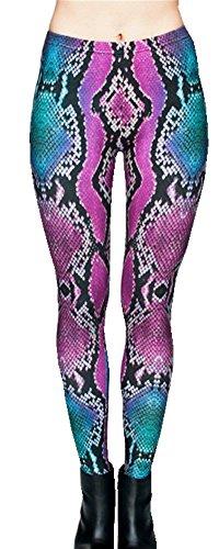 Ndoobiy Women's Printed Leggings Full-Length Regular Size Yoga Workout Leggings Pants Soft Capri L1(Snake OS) (Printed Snake)