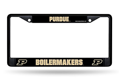 Black Rico Industries NCAA Purdue Boilermakers Chrome Frame 12-inch by 6-inch
