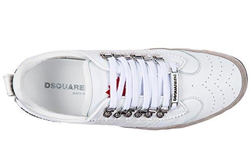 Dsquared2 Chaussures Baskets Sneakers Homme en Cuir 251 Veau Caoutchouc to Blanc