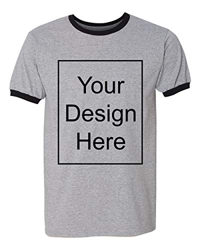 Add Your Own and Text Design Custom Personalized Ringer Adult T-Shirt Tee (XX Large, Sports Gray/Black)