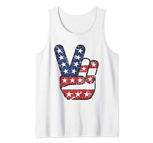 4th of July American Flag Peace Sign Hand US Vintage Tank ()