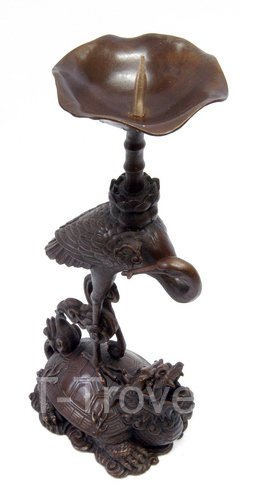 Bronze Longevity Crane Candle Holder Pair
