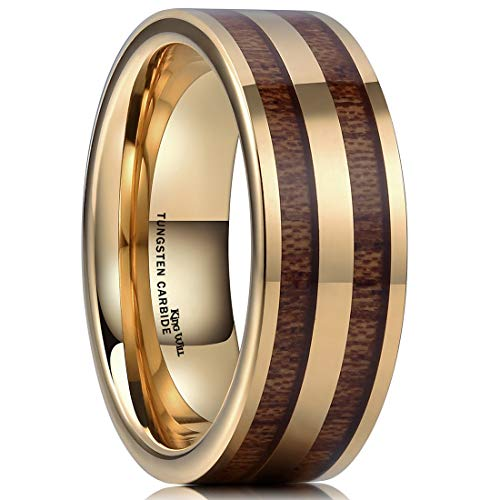 Bridal Band Gold White Celtic (King Will Mens 8mm Gold Tungsten Carbide Ring with Two Line Wood Inlay Wedding Band 6.5)