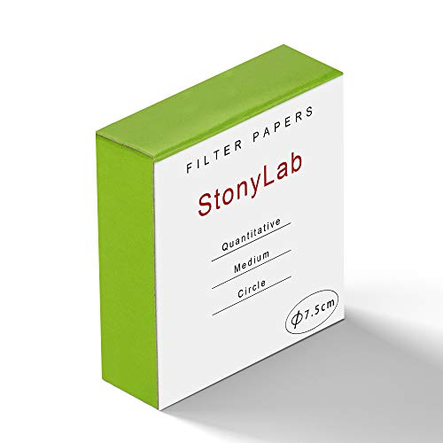 StonyLab Quantitative Filter Paper Circles, 75mm Diameter Cellulose Filter Paper with 20 Micron Particle Retention Medium Filtration Speed, Pack of 100