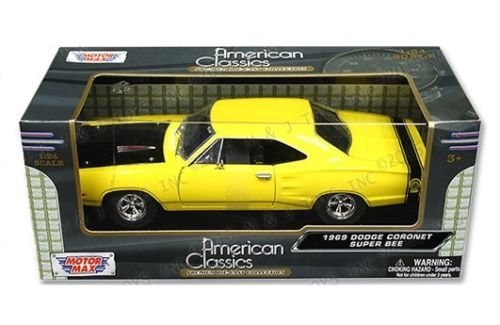 [New 1:24 W/B AMERICAN CLASSICS COLLECTION - YELLOW 1969 DODGE CORONET SUPER BEE Diecast Model Car By MOTOR MAX] (1969 Dodge Coronet Super Bee)