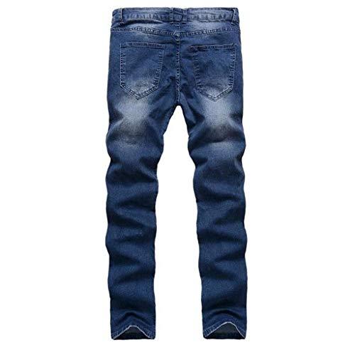 Fit Slim Skinny Lunghi Da Uomo Blau Aderenti Pantaloni Jeans Strappati pZnYIqOO