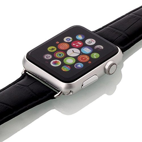 Apple Watch Band, oneCaseTM 42mm Genuine Leather Strap Wrist Band Replacement Watch Band with Metal Clasp for Apple Watch Sport Edition 42mm (42mm-Black)