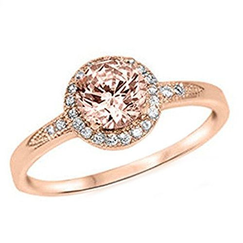 Halo Ring Rose Tone Rhodium PL Round Simulated Morganite Clear CZ Promise Ring, Size-7 (Morganite Rose Ring)