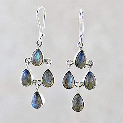 Sivalya 925 Sterling Silver Chandelier Earrings with Dainty Fire Labradorite Drops - 2