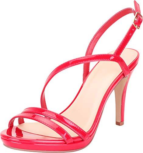 Patent Platform Slingback - Cambridge Select Women's Open Toe Strappy Slingback Platform Stiletto High Heel Dress Sandal,7.5 B(M) US,Red Patent PU