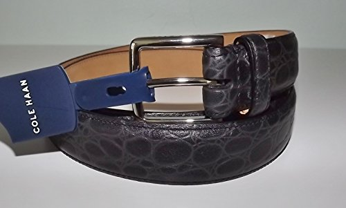 Cole Haan Men's Croc Embossed Leather Belt Chrome Buckle Size 37/38 Black