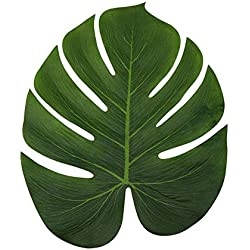 LJDJ Tropical Leaves Palm - Set of 60 - Large 13.8 Inch Artificial Silk Fabric Monstera Decoration Leaf - Hawaiian Luau Safari Jungle Beach Theme Party Supplies Table Decor Accessories