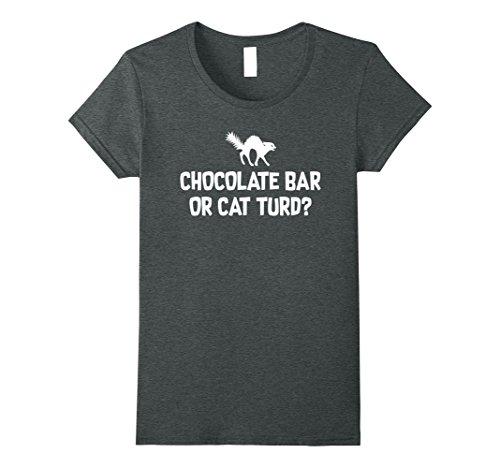 Womens Funny Halloween Black Cat Shirt, Chocolate Bar  Costume 2 Medium Dark Heather