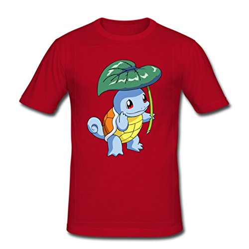 HJGBEDS Mens Japan Anime Pokemon Squirtle Leaf Classic T-shirt Medium Red