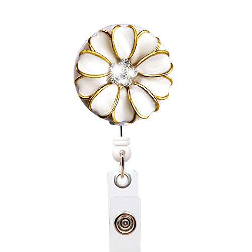 Qinsuee Bling Rhinestones Camellia Retractable Badge Reel Holder, Retractable ID Holder Clip, Alligator Swivel Clip, 24 inch Retractable Cord (White) (Retracting Reel)