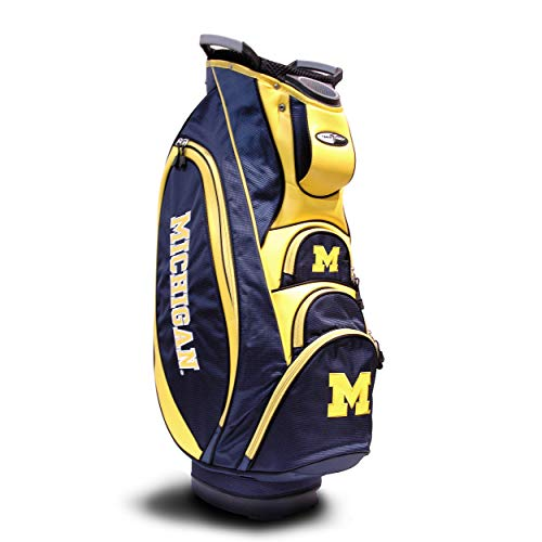 Team Golf NCAA Michigan Wolverines Victory Golf Cart Bag, 10-way Top with Integrated Dual Handle & External Putter Well, Cooler Pocket, Padded Strap, Umbrella Holder & Removable Rain Hood