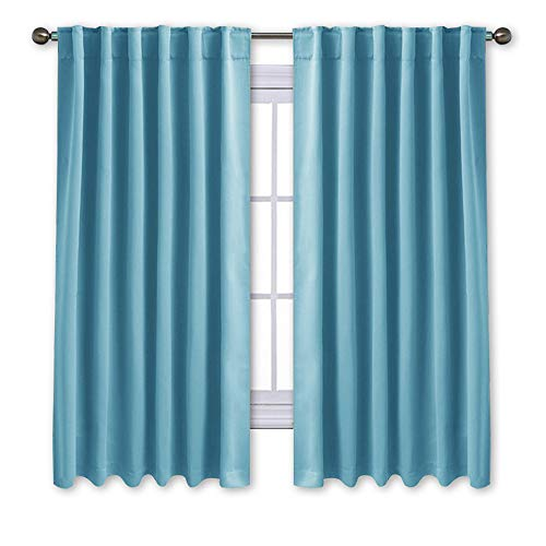 NICETOWN Window Treatment Blackout Curtains and Draperies - (Teal Blue Color) 52x63 Inch, 2 Panels, Room Darkening Blackout Panel Drapes for Bedroom