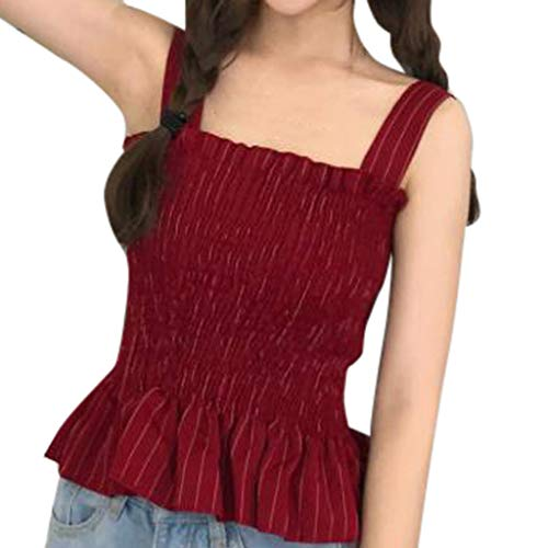 JQjian Sexy Womens Summer Pleated Vest Sleeveless Resilience Tight Waist Off Shoulder Blouse (One Size, ()