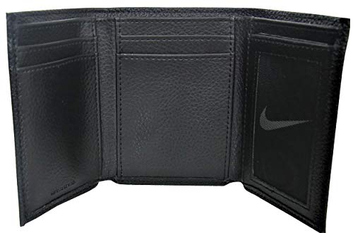 Nike Golf Men's Genuine Leather Pebble Trifold Wallet, Black
