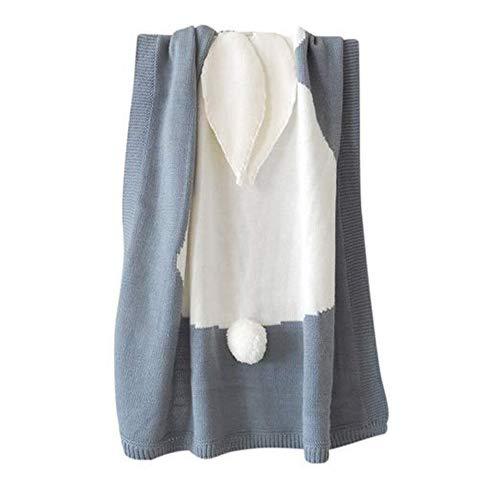 QETU Baby Blankets Newborn Cute Big Rabbit Ear Blanket Soft Warm Knitted Swaddle Kids Bath Towel Baby Toddler Bedding Blankets,Gray