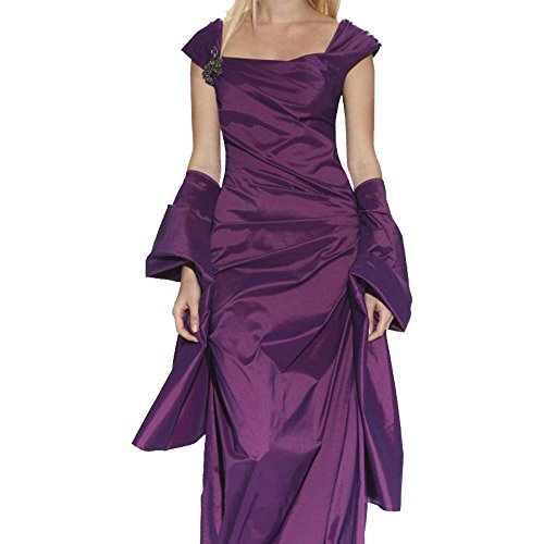 Tadashi Shoji Women's Iridescent Stretch Taffeta Gown With Sash, Purple, 2