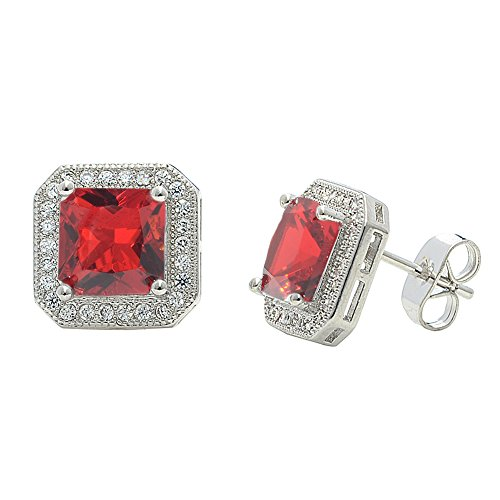 Cate & Chloe Londyn 18k Gold Plated Princess Cut Red Ruby CZ Halo Stud Earrings, Sparkling Cluster Stud Earring Set w/Solitaire Princess Red Ruby Gemstone, Wedding Anniversary ()