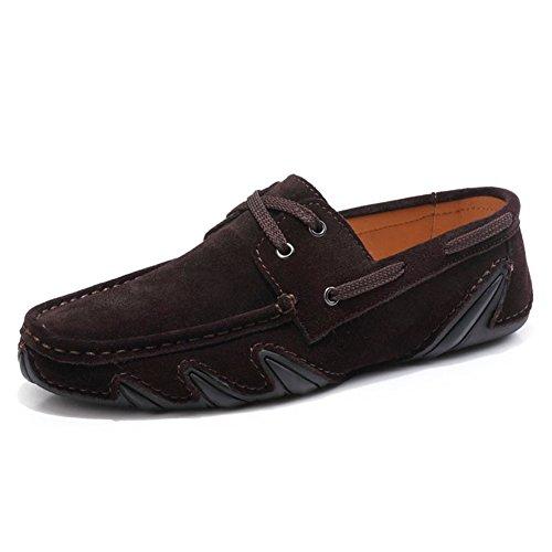Ante El Barco Mocasines Slip Marrón Partido Yaer Gamuza De Los Casual En Zapatos Oscuro Hombres Todo Del Conducción Aw7tz