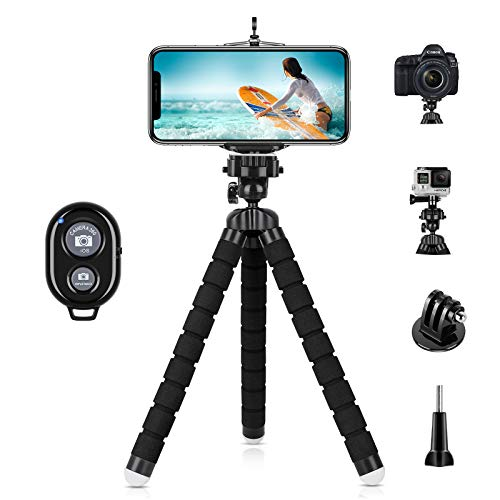 YeahWhee Phone Tripod, Flexible Cell Phone Selfie Stick Tripod Stand Camera Tripod Holder with Wireless Bluetooth Remote…