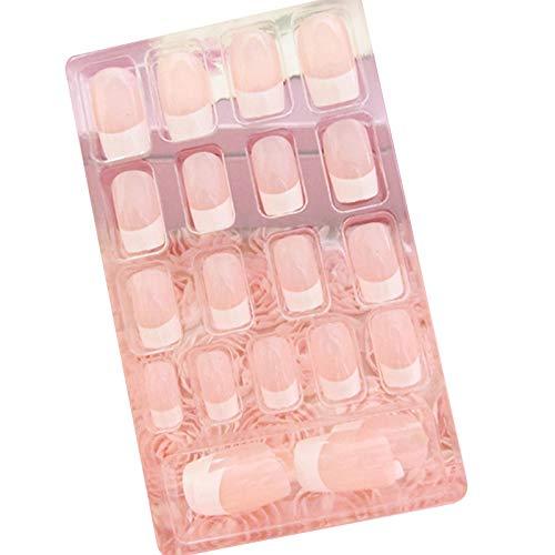 hibyebuying 24Pcs Lady Women's French Style False Nails- Acrylic Nail Tips Full Cover