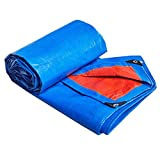 Waterproof Tarps Tarpaulin Protector Poly Tarp with Grommets Fire-Prevention Durable Tent Shelter for Tent UV Resistant Boat RV or Pool Cover