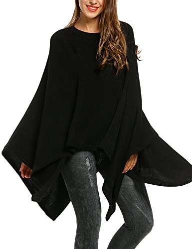 Meaneor Women Casual O-Neck Solid Knit Cloak Asymmetric Wrap Poncho Topper Pullover Sweater,Black (Plus Size Poncho)