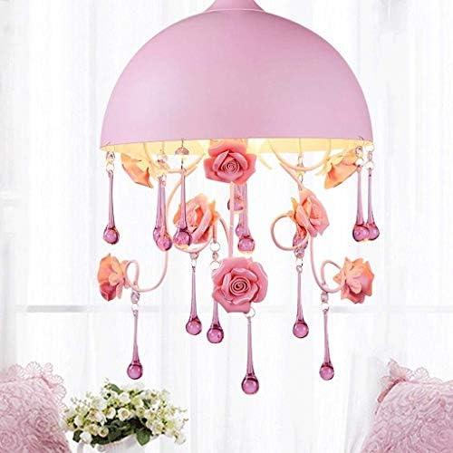 TJLSS Chandelier 1 Light Elegant Crystal Iron Ceiling Light Fixture for Bedroom,Girls Room,Bathroom