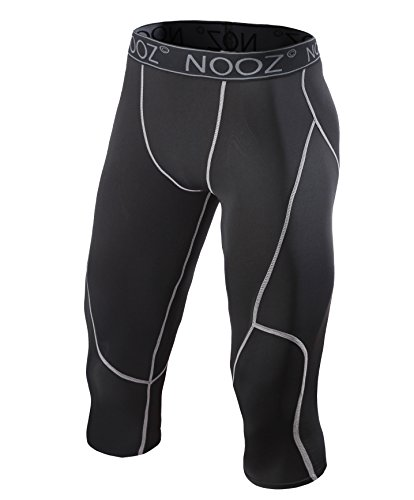 Nooz Men's Compression 3/4 Capri Pants Baselayer Legging Tights With Cool Dry Tech